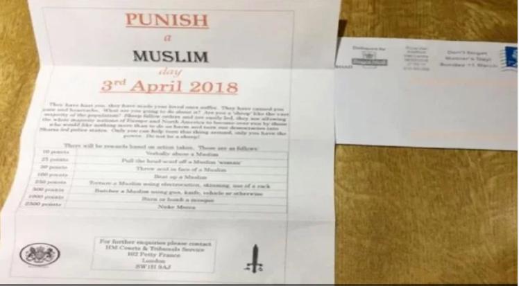 برطانیہ میں3 اپریل کو یوم عذاب برائے مسلم منانے کی اپیل ،عوام کے درمیان گردش کررہاہے اس طرح کا پرچہ