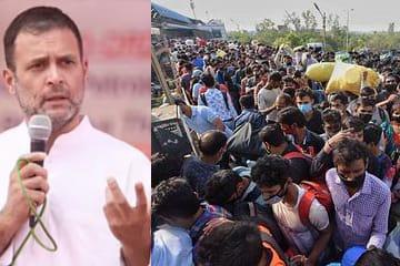ہجرت کر رہے مزدوروں کے کھاتوں میں روپے ڈالے جائیں: راہل گاندھی