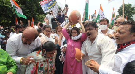 پانی بحران کے خلاف دہلی کانگریس کا کیجریوال کی رہائش کے باہر زبردست مظاہرہ